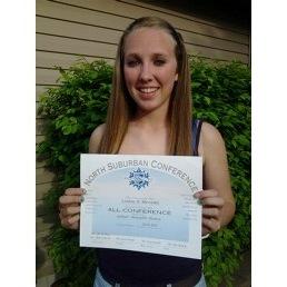 Lindsay Meverden all conference certificate
