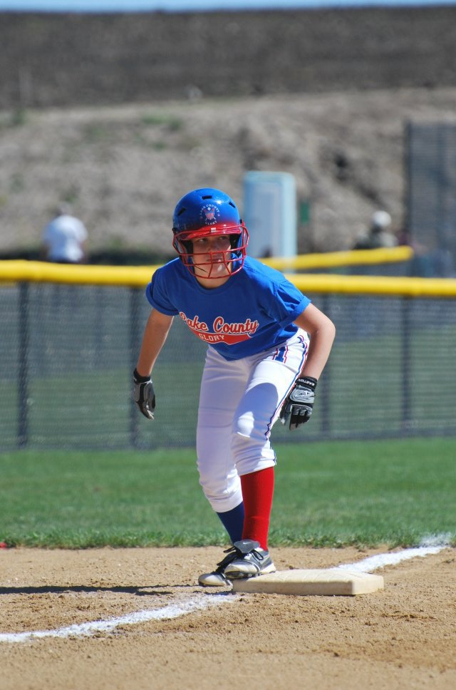 Erin Pauly shows intensity on base