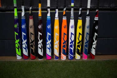 These are all the same Louisville Slugger LTX HYPER fastpitch bat, customized to a wide variety of color choices and combinations.