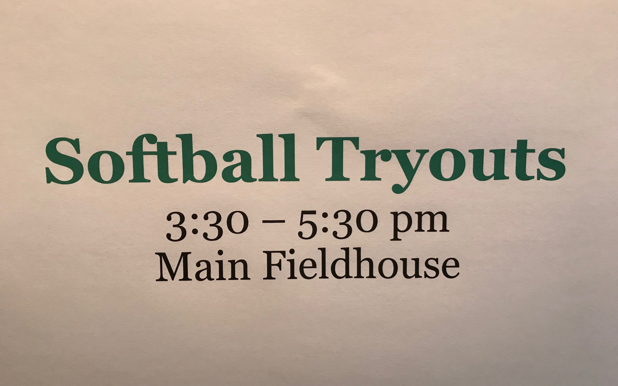 Tryouts sign