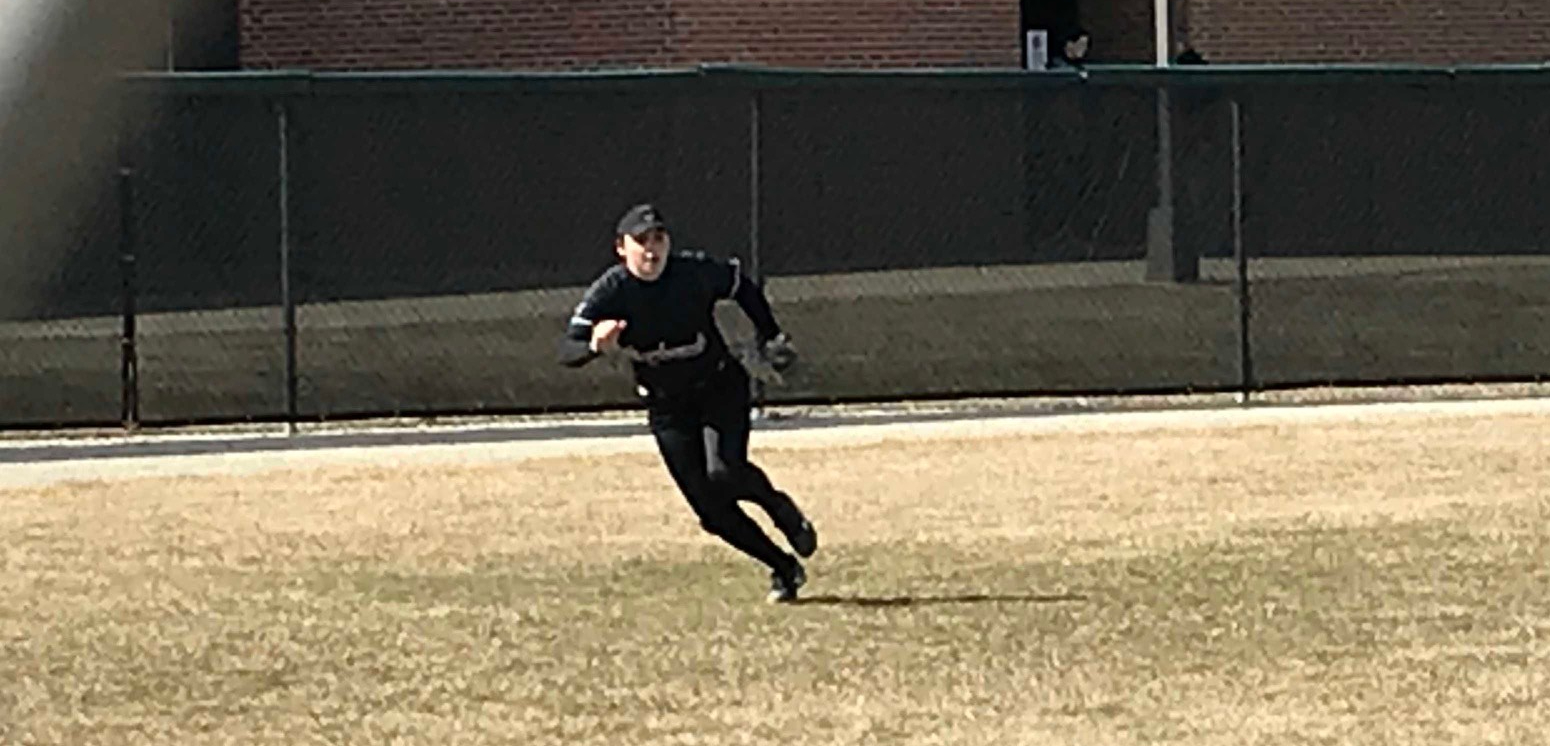 Taylor Danielson takes personal responsibility by hustling to chase down a foul ball